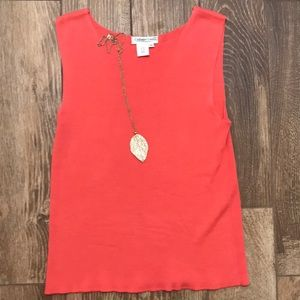 Coral woven tank by Coldwater Creek